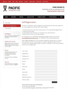 Outsourcing Your Transcripts with Pacific Transcription - Self-register Page