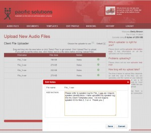 Outsourcing Your Transcripts With Pacific Transcription - Uploading Audio With Notes