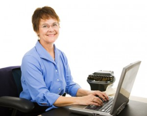 Friendly Stenographer with Laptop and Stenotype Machine
