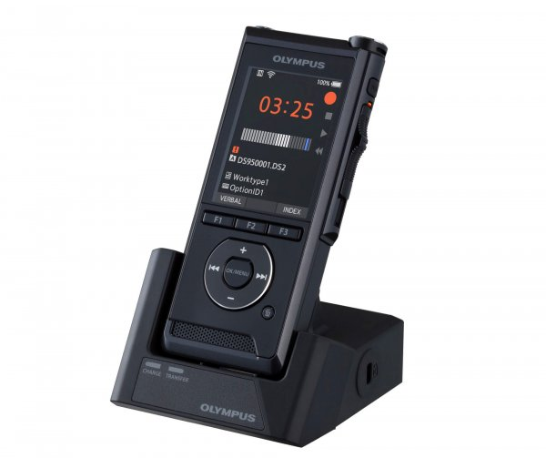 A Dictaphone sitting in its cradle