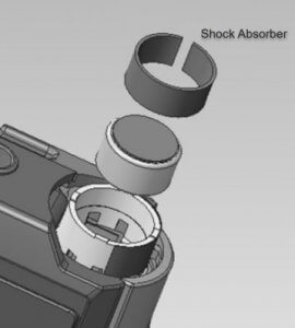 An illustration of the shock absorber rings on the DS-9000 digital dictation recorder