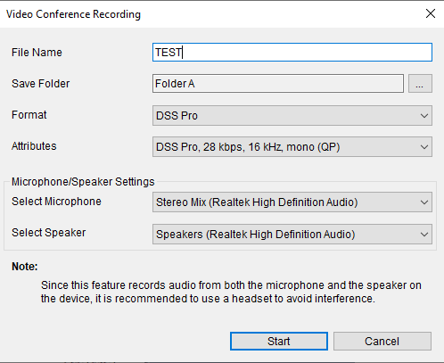Screenshot of recording conference settings on ODMS R7 software